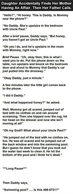 Daughter Accidentally Finds Mother Having An Affair Then Her Father Calls funny jokes story lol funny quote funny quotes funny sayings joke humor stories