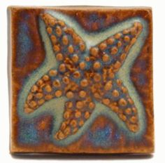 "Starfish 2""x2"" Handmade Ceramic Art Tile"