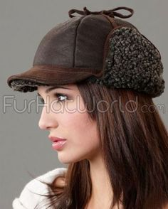 e40814a294d Womens Fudd Shearling Sheepskin Hat - Frosted Brown Trapper Hats