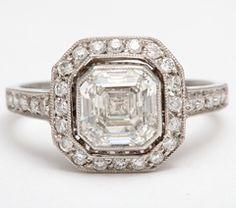 Art Deco Asscher Cut Diamond Engagement Ring at 1stdibs