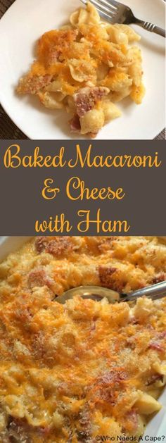 Baked Macaroni & Cheese with Ham! Use up leftover holiday ham to make this cheesy casserole. Perfect comfort food!