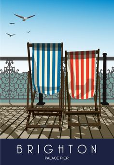 Deck Chairs on Brighton Pier illustration British Travel, British Seaside, Retro, Pub Vintage, Tourism Poster, Railway Posters, Posters Uk, Brighton And Hove, Brighton Sussex