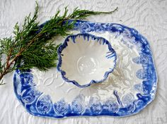 Blue and White Porcelain Serving Set Chip and Dip by Clayshapes