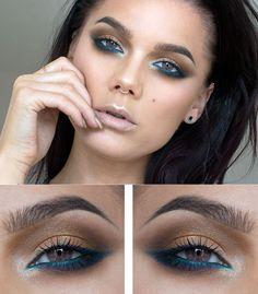 Makeup Brush Set Low - February 12 2019 at Beauty Make-up, Beauty Makeup Tips, Makeup Inspo, Makeup Inspiration, No Eyeliner Makeup, Skin Makeup, Green Eyeliner, Turquoise Eyeshadow, Make Up Tutorials