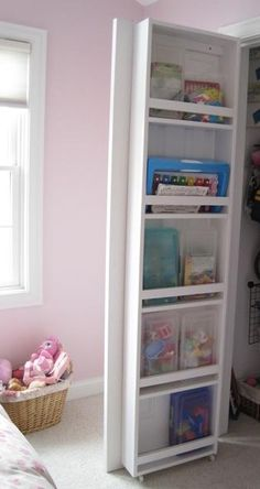 behind closet door storage. DIY to add a few extra feet of space to the inside of closet doors. Could also screw Ikea spice racks inside of cupboard doors for same effect (on laundry room doors) Closet Door Storage, Closet Doors, Closet Organization, Hall Closet, Cupboard Storage, Closet Space, Bookcase Storage, Playroom Closet, Storage Stairs