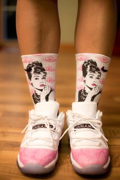 SoleChaseHers Socks Unique, Fashionable, and The most adorable ever- Audrey Hepburn Custom Nike Elites only $37