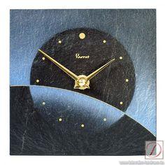 Wanduhr Vaerst Schiefer 13cm - Genießen Sie die frische Atmosphäre die von dieser Uhr ausgeht bei Ihnen zu Hause oder im Büro. Seidenmatter Naturschiefer mit stahlblauem Airbrush Design sowie ein Punktindex in Gold wirken sehr edel.