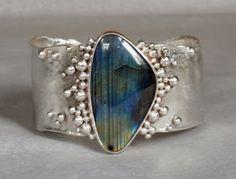 silver cuff bracelet reticulated labradorite