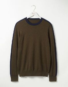 #Boden Farringdon Merino Crew Military Green Men Boden, #As if 100% merino wool wasnt special enough, this fine crew-neck jumper has a tonal contrast stripe across the shoulders, sleeves and under the cuffs. Classic with a modern twist¦ Its what we do best.
