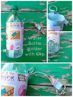 Water Bottle Carrier with Clip Tutorial - Patchwork Posse Easy Sewing Projects, Quilting Projects, Sewing Hacks, Sewing Crafts, Sewing Tips, Craft Projects, Diy Crafts, Water Bottle Carrier, Water Bottle Holders
