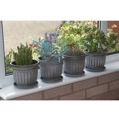 Set of 4 Mini Planters / Plant Pot Holders with saucers. Georgian style black with white wash finish. Height 14cm x 17.5cm Diameter.