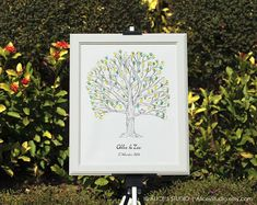 This is a fantastic alternative to traditional guest book. It is an interactive and a beautiful UNIQUE and ORIGINAL COLLABORATIVE ART for you to cherish for years to come! This artwork features a wedding/ family tree with lovebirds, drawn with archival, fade-resistant ink and watercolour