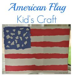 American Flag Kid's Craft: tearing paper activity by Dolen Diaires for seven thirty three