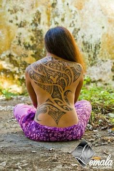 Back of a Lady Tribal Tattoos