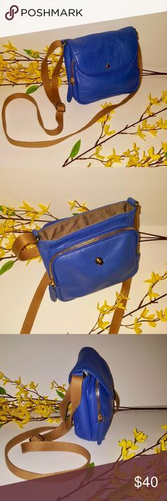 J. Crew  Blue Leather Crossbody With Canvas Strap J. Crew Blue Leather Crossbody with adjustable Canvas Strap, Flap with push pin closure, gold hardware, interior features one zip pocket and one slip pocket, with an additional large zip up compartment in front, great condition J. Crew Bags Crossbody Bags