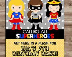 SUPERHERO Girls Invite Birthday Invitation by KawaiiKidsDesign