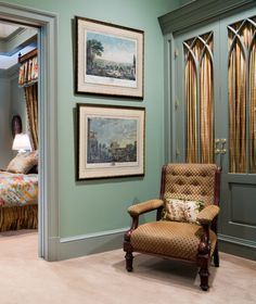 Armoire with Gothic arch doors backed with curtains and painted a muted blue-green color - home designed by Larry Boerder Bedroom Green, Room Decor Bedroom, Living Room Decor, Dressing Room Design, Dressing Rooms, Romantic Bedroom Colors, Arched Doors, Home Comforts, Wardrobe Doors