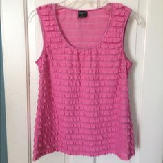 """Pretty & Pink Size L Dress Tank Very Cute & Nice Size L Ruffled Tank with Satin Piping around Neckline & Armholes By Tribal. Worn Once & In EXCELLENT CONDITION!! Measurements are 17 1/2"""" Chest & 23"""" In Length. Materials are 99% Polyester, 1% Spandex Tribal Tops Tank Tops"""
