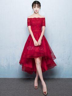 Vestido de Baile de color borgoña con escote de hombros caídos De banda de encaje de línea A con manga corta de encaje