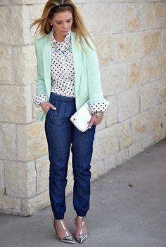 Office Outfit: Denim joggers, polka dot top and mint blazer.