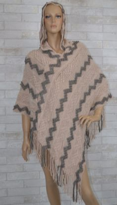 Origami by Vivien Rose Sand and Grey Fringe Hoodie Poncho – Debra's Passion Boutique