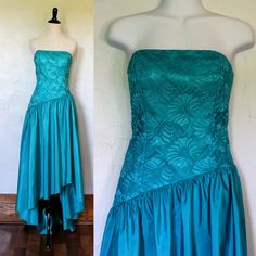 Vintage 1980s Turquiose Lace Party Dress by VintageKriket on Etsy