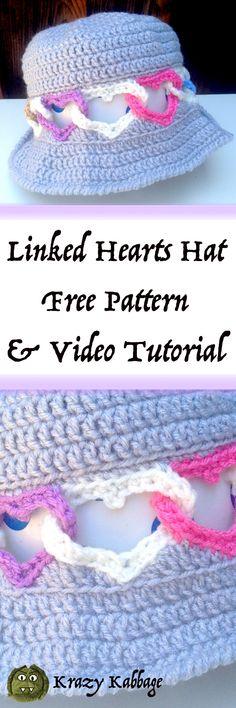 Crochet Linked Hearts Hat Free Pattern – Krazykabbage  #freepattern #crochet #love