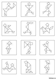 Kids Learning Activities, Preschool Worksheets, Tangram Printable, Tangram Puzzles, Graph Paper Art, Origami Patterns, Geometric Pattern Design, Activity Board, Classroom Games