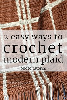 Photo tutorial for two methods of creating a clean modern plaid design using intarsia and surface crochet. Sophisticated look easy enough for beginners! Would look great in your modern farmhouse ; Crochet Stitches Patterns, Knitting Stitches, Crochet Designs, Afghan Patterns, Learn To Crochet, Easy Crochet, Free Crochet, Plaid Crochet, Modern Crochet