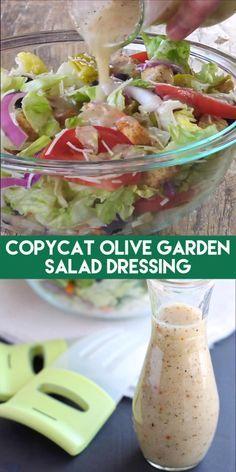 Olive Garden Salad, Olive Garden Recipes, Olive Salad, Olive Garden Food, Vegan, Salad Dressing Recipes, Italian Dressing Recipes, Pasta Salad Dressings, Dressing For Pasta Salad