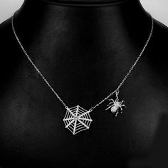 AAA WHITE CUBIC ZIRCONIA 14K WHITE GOLD PLATED 925 SILVER SPIDER NECKLACE 19ins. #StrandString