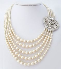Lorren Bell Multi Strand Pearl Necklace with Art Deco Brooch.