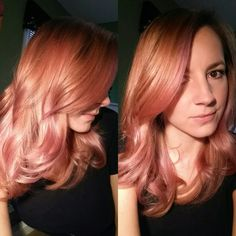 By @ashleymalik  Rose gold hair Olaplex pravana vivids manic panic opal opalescent pink orange loose waves