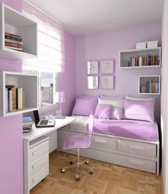 For small bedrooms, love these colors. I want this room so badly!