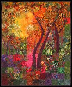 "motleycraft-o-rama:  ""When Trees are Happy"" Art Quilt by Carol Bridges."