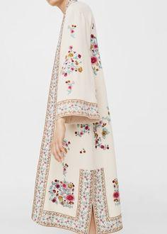 Floral embroidered kaftan -  Women   MANGO USA