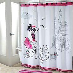 What a cute shower curtain! #bathroom #pinkandblack #afflink
