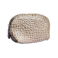 Italian Taupe Croc Leather Clutch Bag/Cosmetic Bag - £12.99