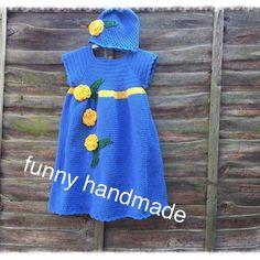 #Funnyhandmades_uk #crocheted #crochethat #crochetbaby #crochet #crochetersofinstagram #crochetstyles #funnyhats #babyset #crochetscarf #dresses #bluedress by funnyhandmades_uk