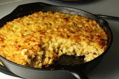 Mac and cheese in a cast-iron skillet. Good stuff (though I skip the bacon grease part)!