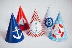 Sombreros de fiesta de cumpleaños náutico sailor por KidsPartySet