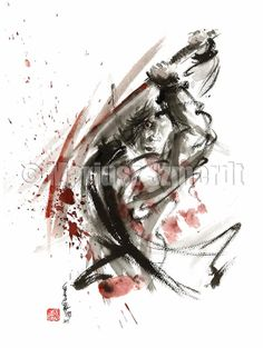 SAMURAI Warrior Fury Battle Japanese Kimono Sword GICLEE fine art print of watercolor ink PAINTING
