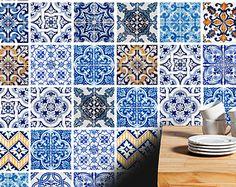 Traditional Tiles Stickers - Tiles Decals - Tiles for Kitchen Backsplash or Bathroom - Backsplash decal - PACK OF 32 - SKU:ACBACTiles