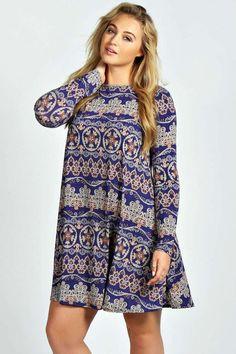 Donna Paisley Long Sleeve Swing Dress alternative image