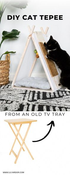 My Pins DIY Cat house! Here' s how you can make a cat house from an old tv tray! Diy Pour Chien, Diy Jouet Pour Chat, Cat House Diy, Sheila E, Diy Cat Toys, Homemade Cat Toys, Furniture Stores Nyc, Cat Playground, Cat Room