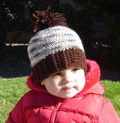 Crochet-Brown Pom Hat With Ribbed Edge ALL SIZES Pattern $3.99