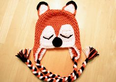 Fox hat, sleeping fox hat, crochet animal hat, orange and black, Newborn to 12 Month sizes available on Etsy, $25.00