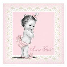Ivory and Pink Vintage Baby Girl Shower Custom Invitation
