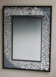 Black framed mosaic mirror with silver Van Gogh glass, beads, white glass, and broken mirror. This mirror measures 18 perfect for a guest bath. Mirror Mosaic, Mirror Art, Mosaic Art, Mosaic Glass, Mosaic Tiles, Glass Art, Mosaics, Stained Glass, Mosaic Crafts