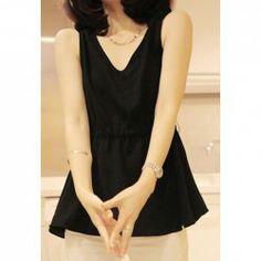 V-Neck Sleeveless Chiffon Sweet Style Solid Color Women's Vest Black Vest, Sweet Style, Chiffon, V Neck, Lace, Long Sleeve, Color, Dresses, Fashion